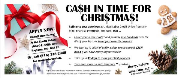 Extra Cash in time for Christmas, auto refinance, save money
